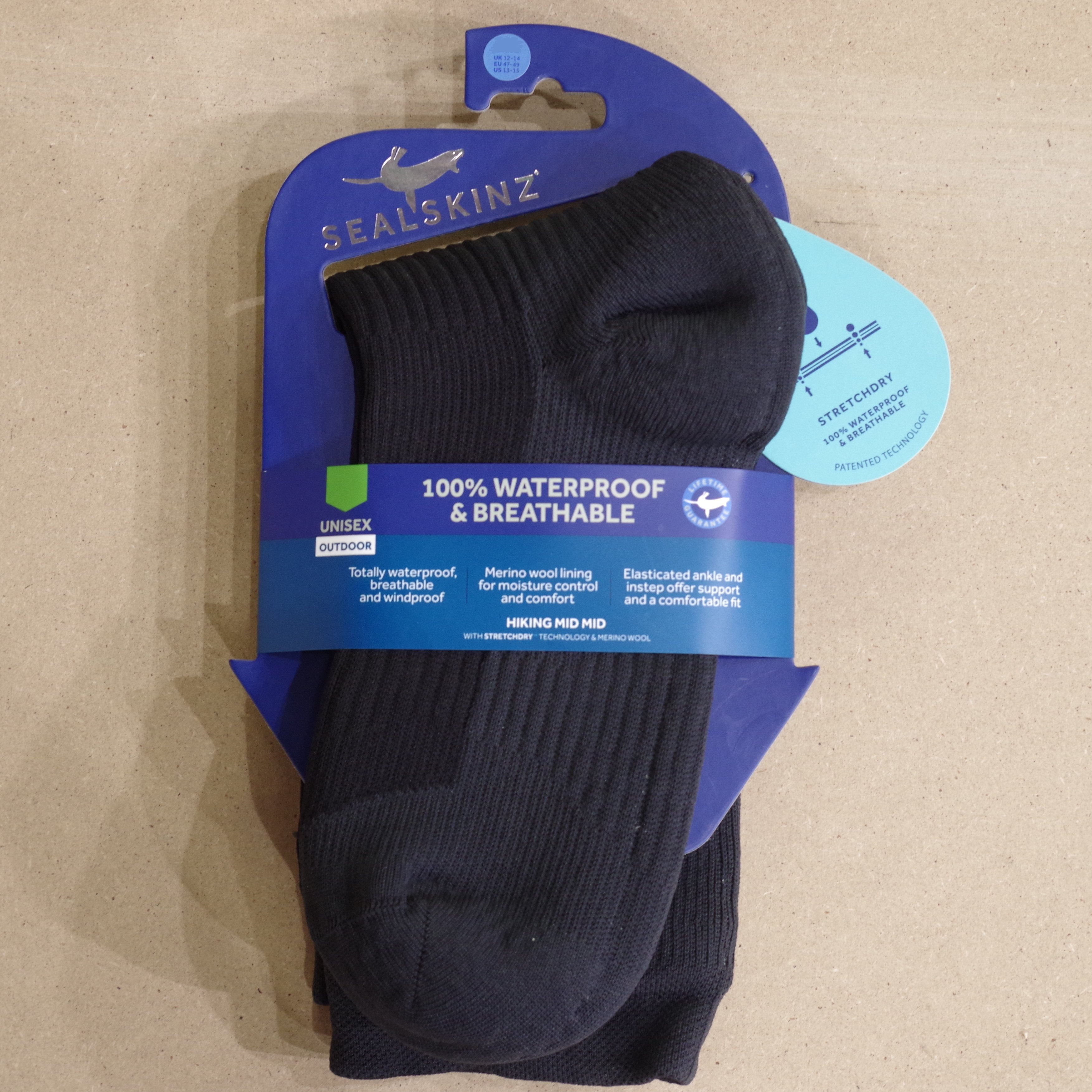 506b48b660b Sealskinz Hiking Mid Mid Bk Anth XL Waterproof socks £26.00