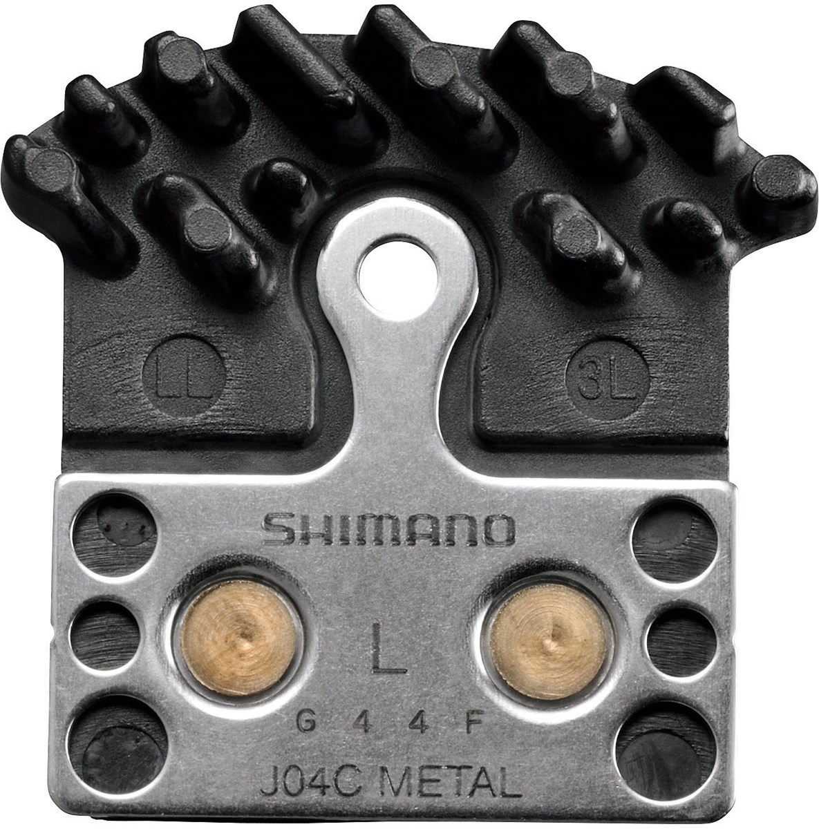 Shimano J04C metal disc brake pad and spring, with fin for XTR/XT/SLX